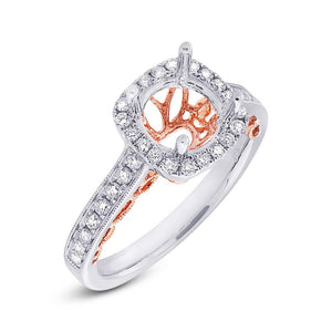 14k Two-tone Rose Gold Diamond Semi-mount Ring - 0.44ct