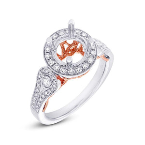 14k Two-tone Rose Gold Diamond Semi-mount Ring - 0.58ct