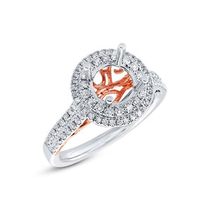14k Two-tone Rose Gold Diamond Semi-mount Ring - 0.56ct