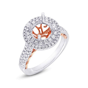 14k Two-tone Rose Gold Diamond Semi-mount Ring - 0.65ct