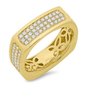 14k Yellow Gold Diamond Men's Ring - 0.94ct
