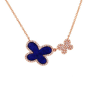 Diamond & 1.27ct Lapis 14k Rose Gold Butterfly Necklace - 0.25ct