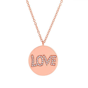 14k Rose Gold Diamond ''Love'' Pendant - 0.08ct