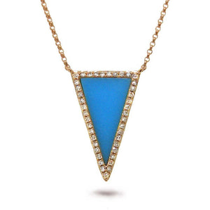 Diamond & 0.70ct Composite Turquoise 14k Rose Gold Necklace