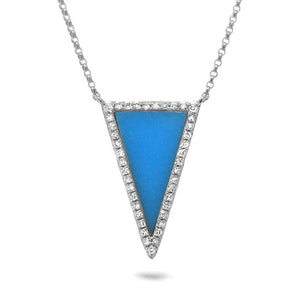 Diamond & 0.70ct Composite Turqoise 14k White Gold Necklace - 0.13ct