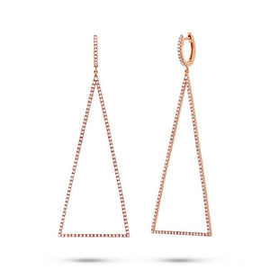 14k Rose Gold Diamond Triangle Earring - 0.81ct