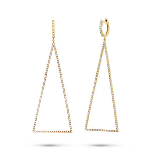 14k Yellow Gold Diamond Triangle Earring - 0.81ct