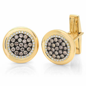 14k Yellow Gold White & Champagne Diamond Cuff Links - 1.00ct