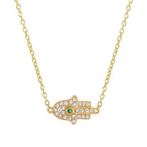 Diamond & 0.01ct Emerald 14k Yellow Gold Hamsa Necklace