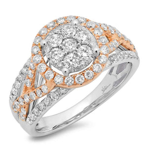 14k Two-tone Rose Gold Diamond Cluster Engagement Ring - 1.02ct