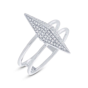 14k White Gold Diamond Pave Pyramid Ring - 0.22ct