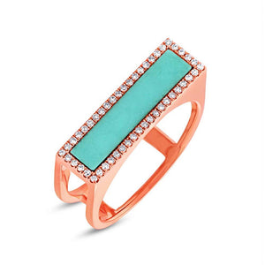 Diamond & 0.97ct Composite Turquoise 14k Rose Gold Lady's Ring