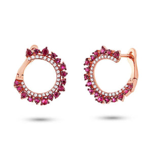 Diamond & 0.67ct Ruby 14k Rose Gold Earring
