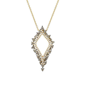 14k Yellow Gold White & Champagne Diamond Necklace - 0.94ct