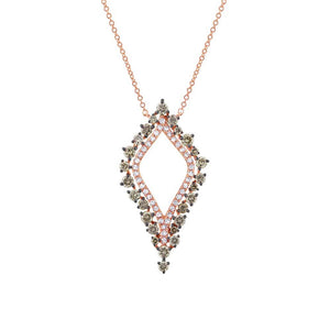 14k Rose Gold White & Champagne Diamond Necklace - 0.94ct