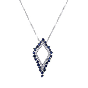 Diamond & 0.86ct Blue Sapphire 14k White Gold Necklace - 0.19ct
