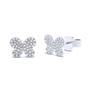 14k White Gold Diamond Pave Butterfly Earring - 0.22ct
