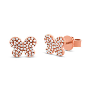 14k Rose Gold Diamond Pave Butterfly Earring - 0.22ct