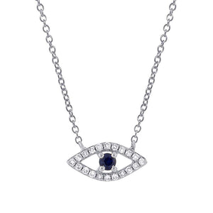 Diamond & 0.08ct Blue Sapphire 14k White Gold Eye Necklace