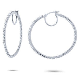 14k White Gold Diamond Hoop Earring - 0.50ct