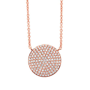 14k Rose Gold Diamond Pave Circle Necklace - 0.37ct
