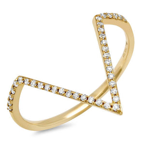 14k Yellow Gold Diamond Lady's Ring Size 5 - 0.11ct