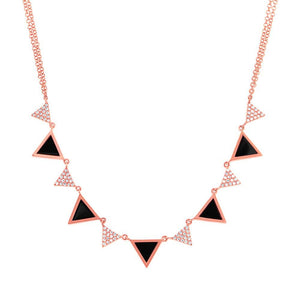 Diamond & 1.00ct Onyx 14k Rose Gold Triangle Necklace - 0.26ct