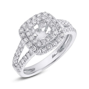 14k White Gold Diamond Semi-mount Ring for 5x5mm Center - 0.73ct