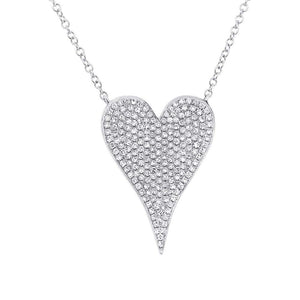 14k White Gold Diamond Heart Necklace - 0.43ct