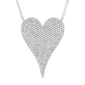 14k White Gold Diamond Heart Necklace - 0.83ct