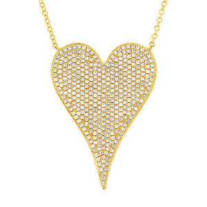 14k Yellow Gold Diamond Heart Necklace - 0.83ct