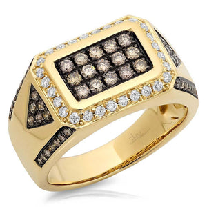 14k Yellow Gold White & Champagne Diamond Men's Ring Size 13.5 - 1.02ct
