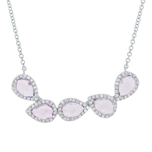 Diamond & 1.71ct Amethyst 14k White Gold Necklace - 0.25ct