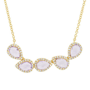 Diamond & 1.71ct Amethyst 14k Yellow Gold Necklace - 0.25ct