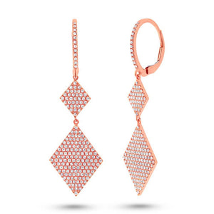 14k Rose Gold Diamond Pave Earring - 0.91ct