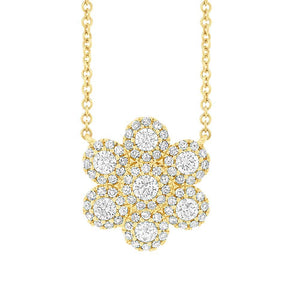 14k Yellow Gold Diamond Flower Necklace - 0.47ct