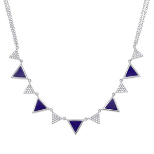 Diamond & 1.21ct Lapis 14k White Gold Triangle Necklace - 0.26ct