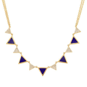 Diamond & 1.21ct Lapis 14k Yellow Gold Triangle Necklace - 0.26ct