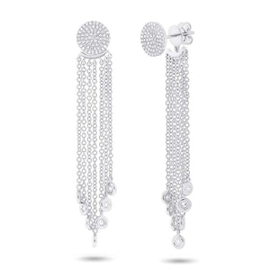 14k White Gold Diamond Pave Fringe Jacket Earring