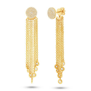 14k Yellow Gold Diamond Pave Fringe Jacket Earring