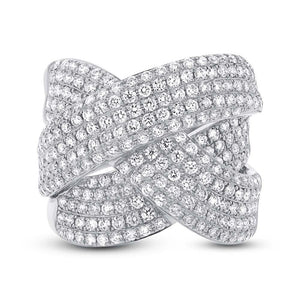 14k White Gold Diamond Bridge Ring - 2.33ct
