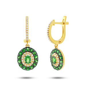 Diamond & 1.26ct Green Garnet 14k Yellow Gold Earring - 0.21ct
