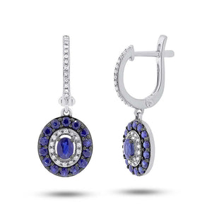 Diamond & 1.20ct Blue Sapphire 14k White Gold Earring - 0.21ct