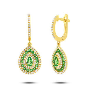 Diamond & 1.02ct Green Garnet 14k Yellow Gold Earring - 0.47ct