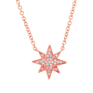 14k Rose Gold Diamond Star Pendant