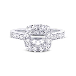 14k White Gold Diamond Semi-mount Ring for 0.75ct Center - 0.52ct