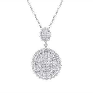 18k White Gold Diamond Pave Pendant - 5.87ct