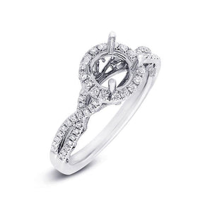 14k White Gold Diamond Semi-mount Ring for 1.00ct Center - 0.30ct