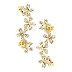 14k Yellow Gold Flower Diamond Ear Crawler Earring