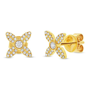 14k Yellow Gold Diamond Flower Earring - 0.20ct